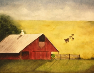 Red Barn, watercolor, painted for a client for her father's birthday. This family barn sadly no longer exists.