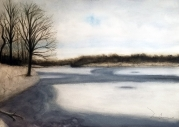Commissioned watercolor: The Lake in Winter.